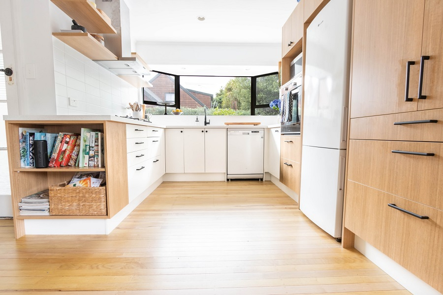 bright kitchen with bamboo cabinets
